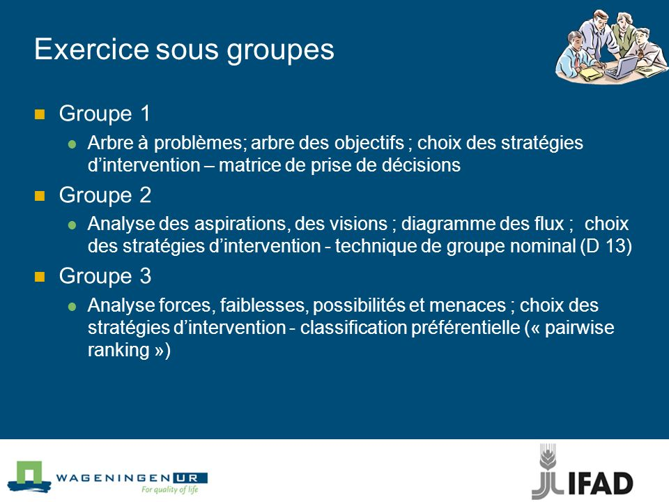 Exercice sous groupes Groupe 1 Groupe 2 Groupe 3