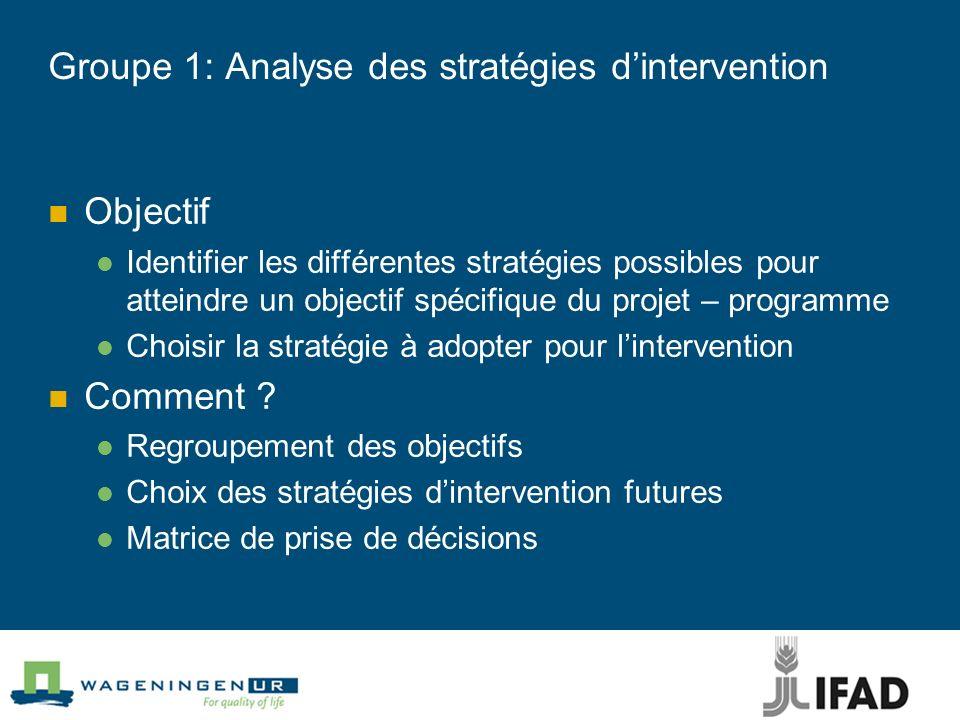 Groupe 1: Analyse des stratégies d'intervention
