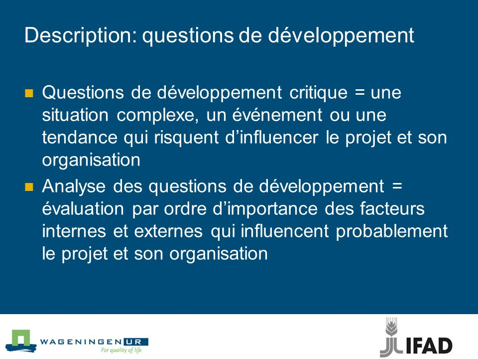Description: questions de développement