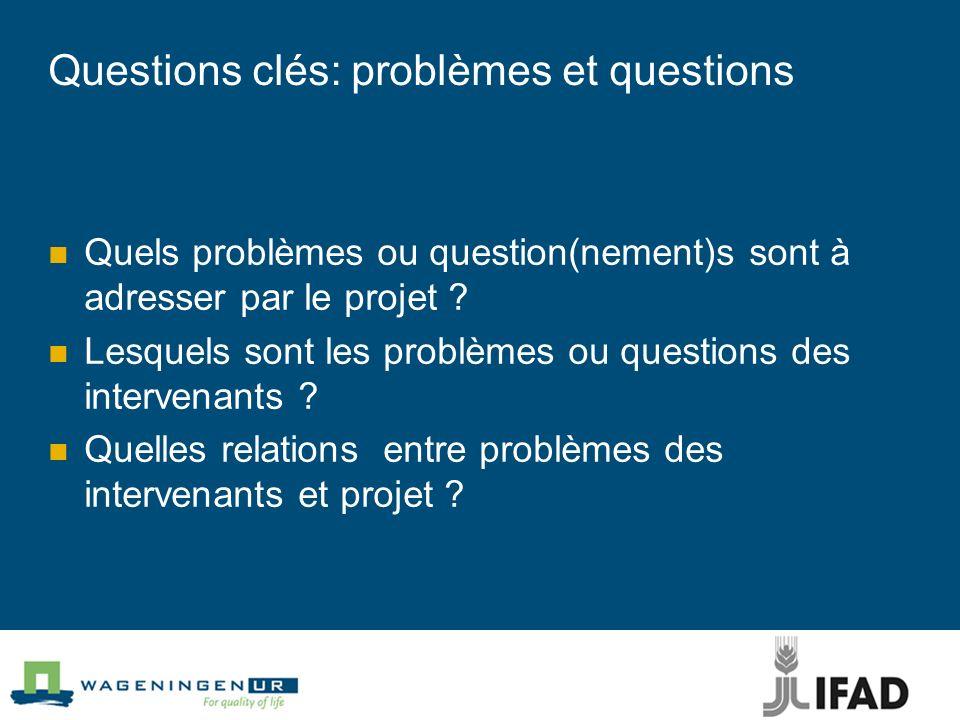 Questions clés: problèmes et questions