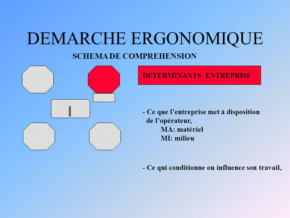 DEMARCHE ERGONOMIQUE SCHEMA DE COMPREHENSION DETERMINANTS ENTREPRISE