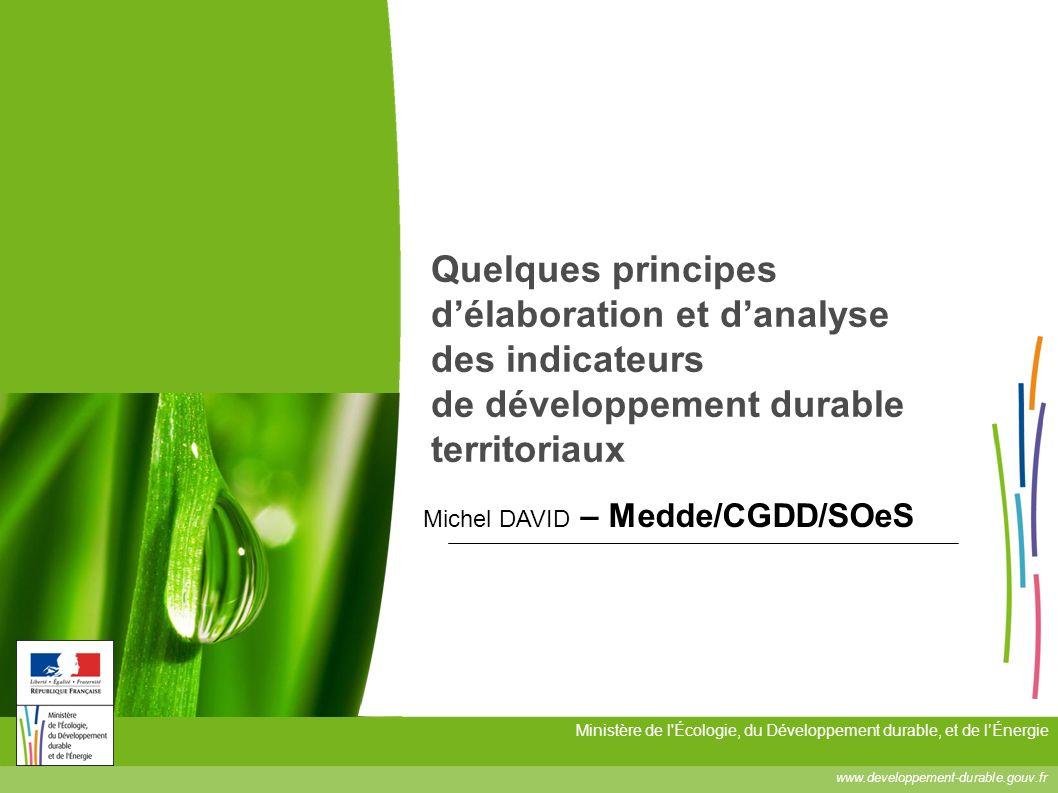 Quelques principes d'élaboration et d'analyse des indicateurs de développement durable territoriaux