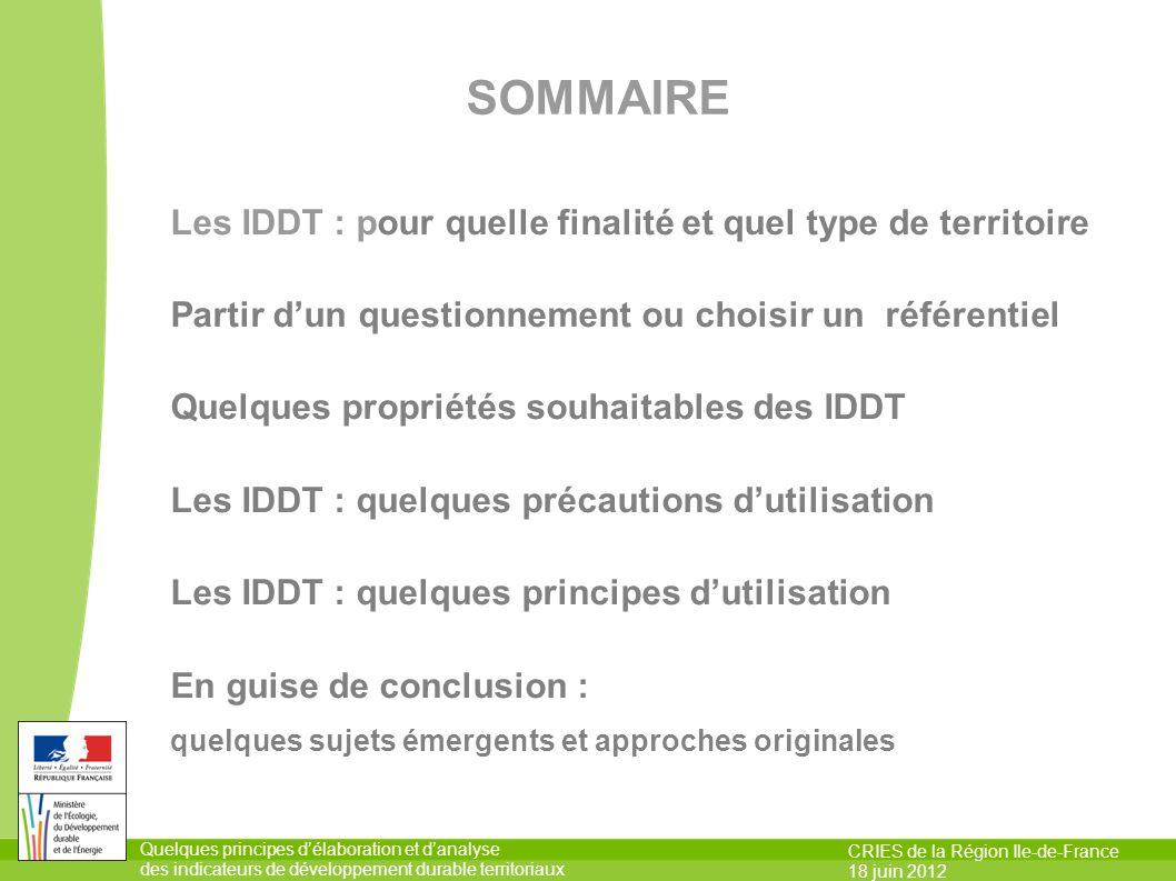 SOMMAIRE Les IDDT : pour quelle finalité et quel type de territoire