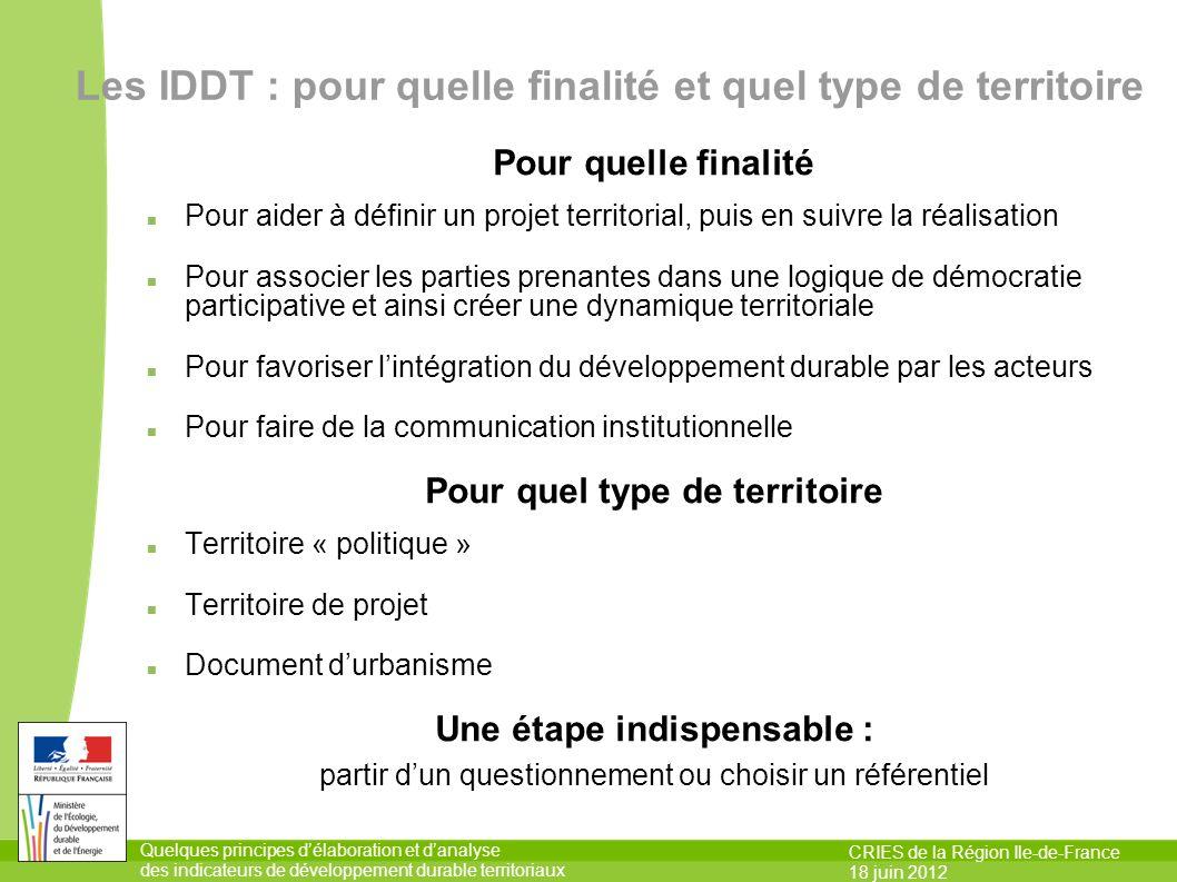 Les IDDT : pour quelle finalité et quel type de territoire