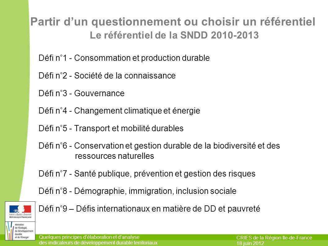 Partir d'un questionnement ou choisir un référentiel Le référentiel de la SNDD 2010-2013
