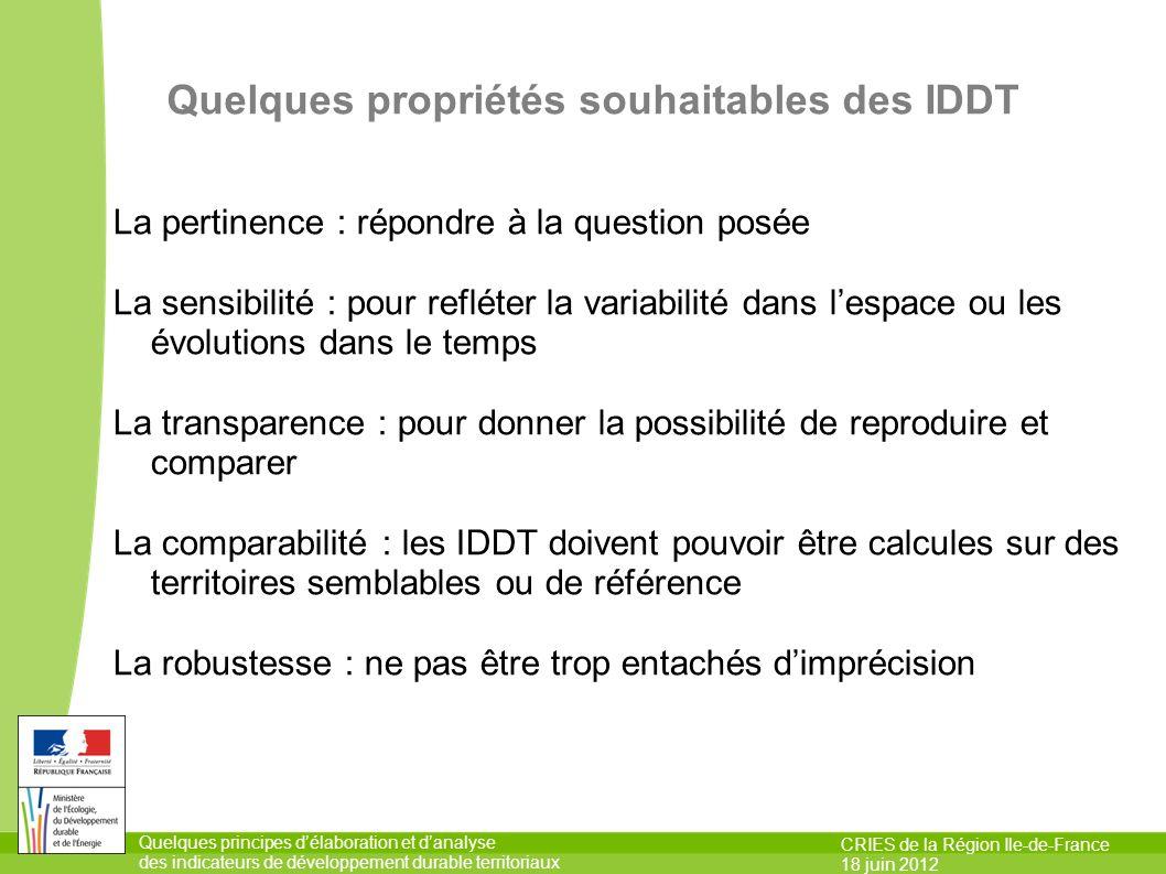 Quelques propriétés souhaitables des IDDT