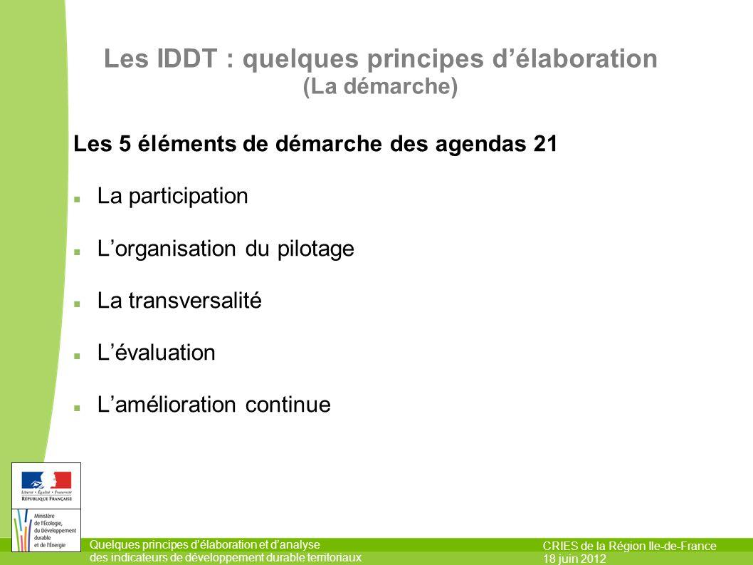 Les IDDT : quelques principes d'élaboration (La démarche)