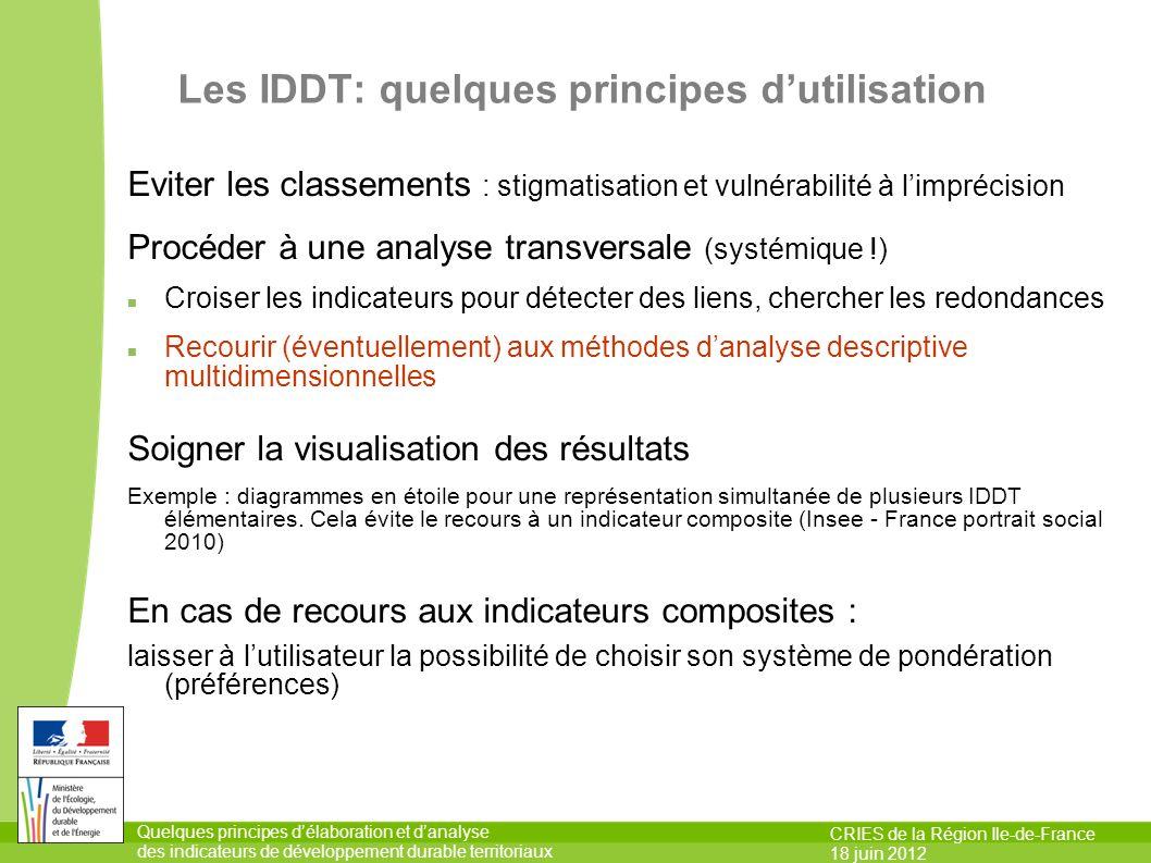 Les IDDT: quelques principes d'utilisation