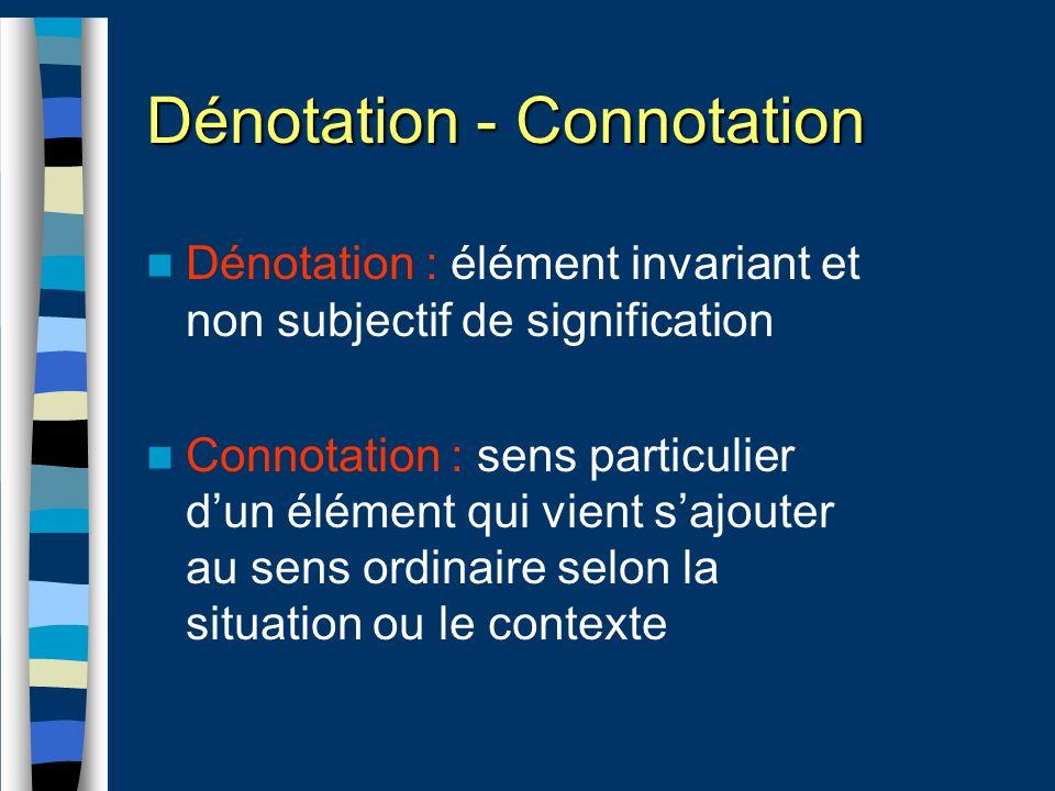 Dénotation - Connotation