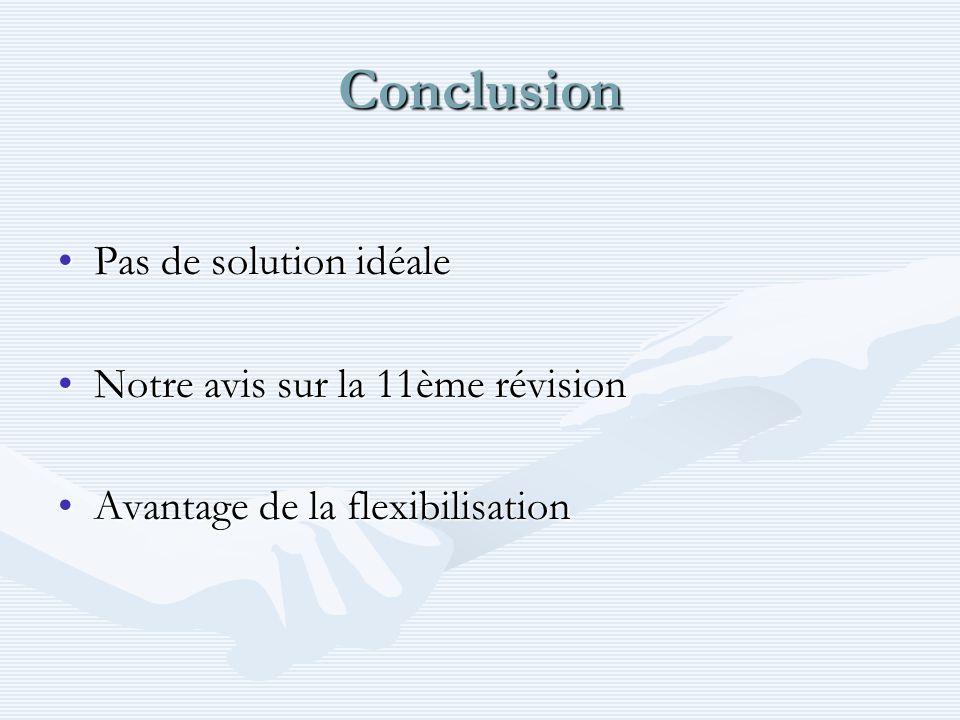 Conclusion Pas de solution idéale Notre avis sur la 11ème révision