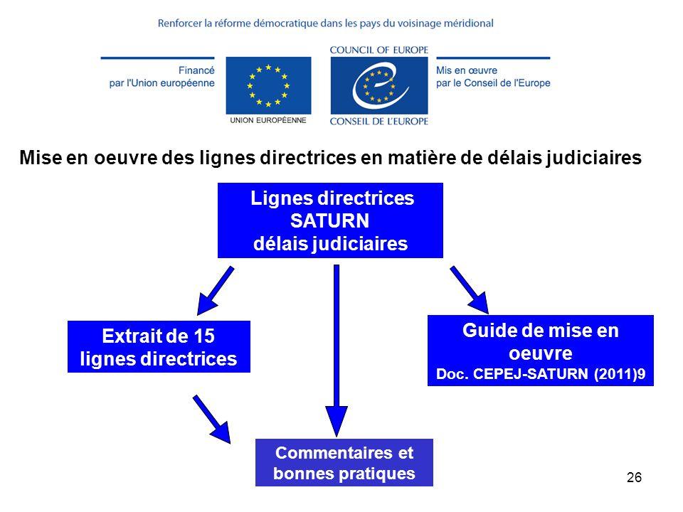 Mise en oeuvre des lignes directrices en matière de délais judiciaires
