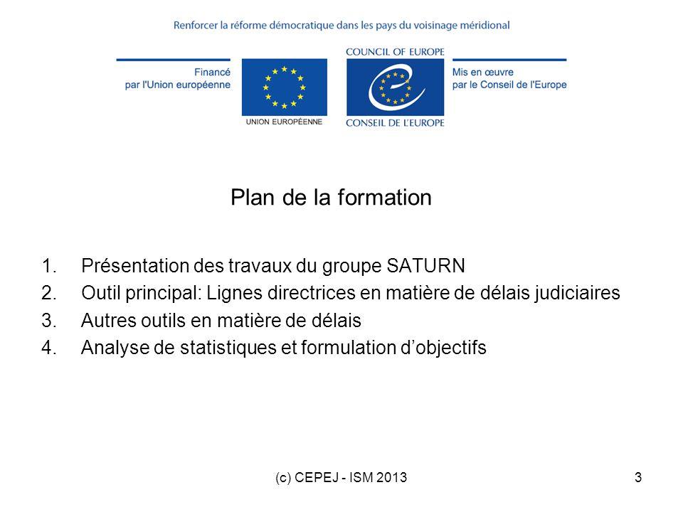 Plan de la formation Présentation des travaux du groupe SATURN