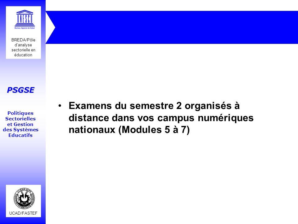 Examens du semestre 2 organisés à distance dans vos campus numériques nationaux (Modules 5 à 7)