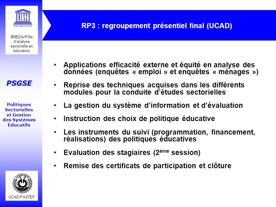 RP3 : regroupement présentiel final (UCAD)