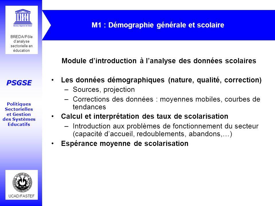 M1 : Démographie générale et scolaire
