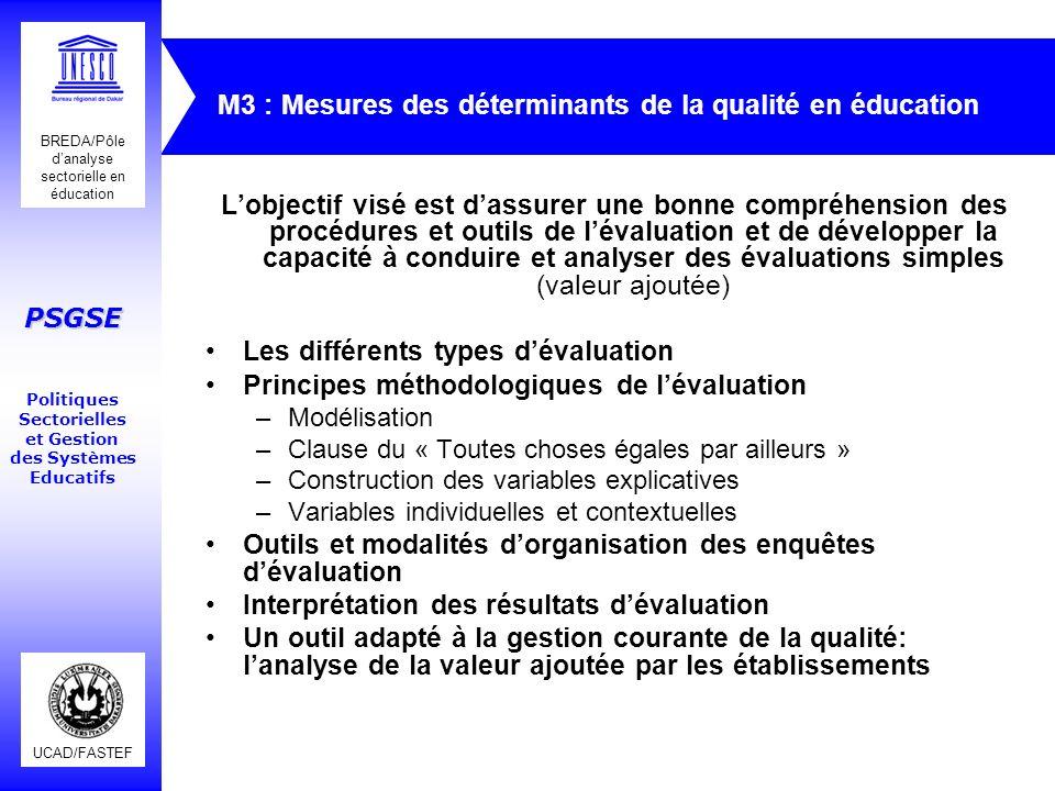 M3 : Mesures des déterminants de la qualité en éducation