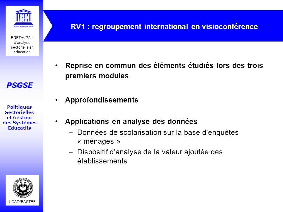 RV1 : regroupement international en visioconférence