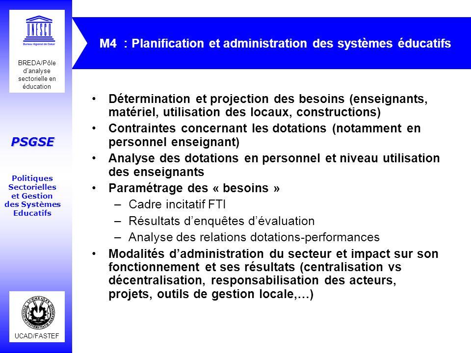 M4 : Planification et administration des systèmes éducatifs