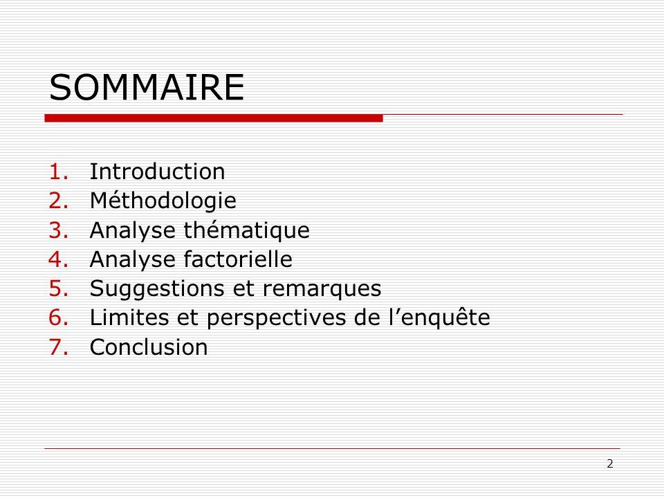 SOMMAIRE Introduction Méthodologie Analyse thématique