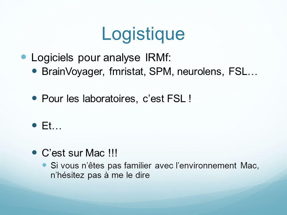 Logistique Logiciels pour analyse IRMf: