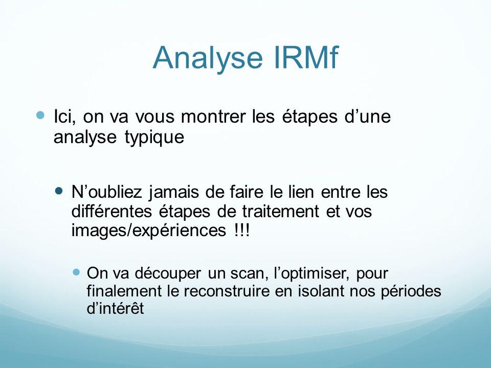 Analyse IRMf Ici, on va vous montrer les étapes d'une analyse typique