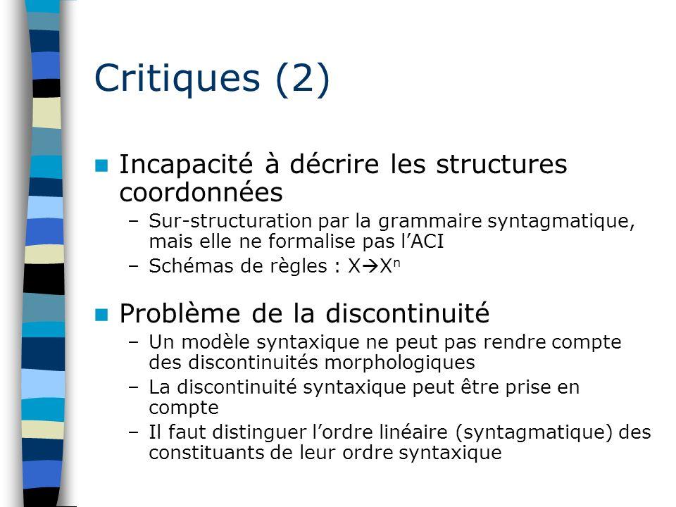 Critiques (2) Incapacité à décrire les structures coordonnées