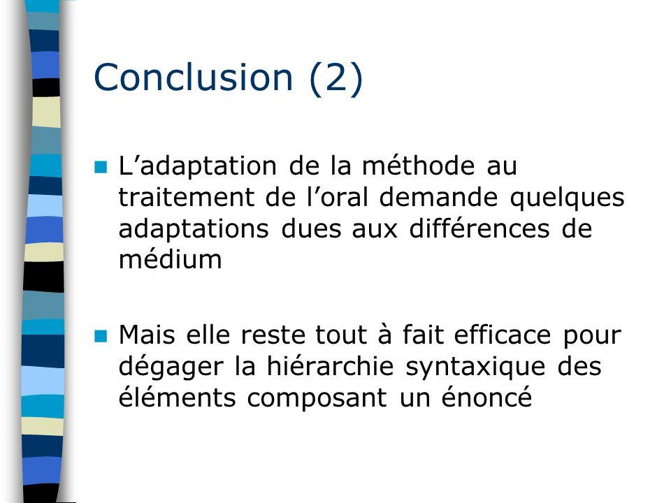 Conclusion (2) L'adaptation de la méthode au traitement de l'oral demande quelques adaptations dues aux différences de médium.