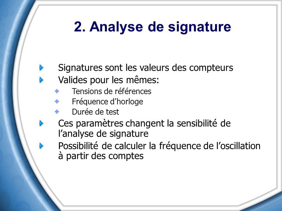 2. Analyse de signature Signatures sont les valeurs des compteurs