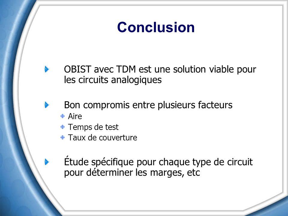 Conclusion OBIST avec TDM est une solution viable pour les circuits analogiques. Bon compromis entre plusieurs facteurs.