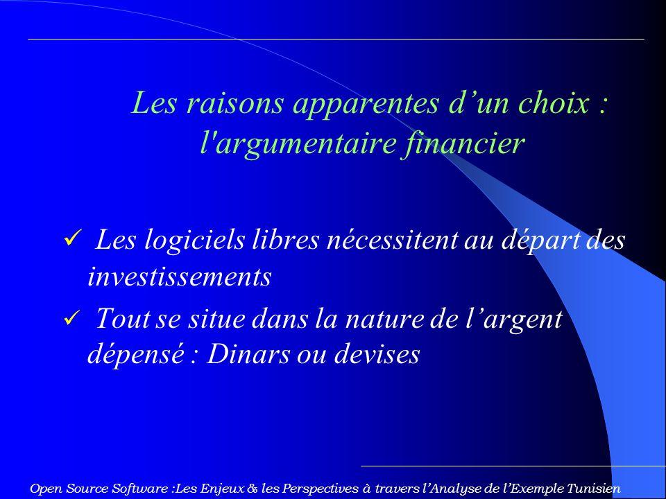 Les raisons apparentes d'un choix : l argumentaire financier