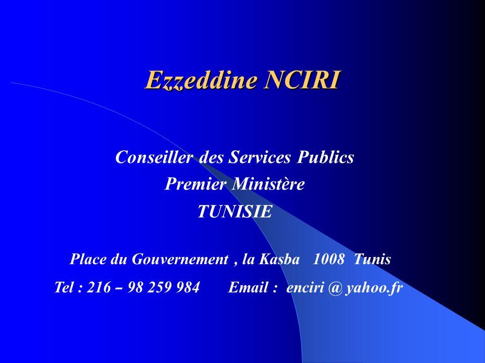 Conseiller des Services Publics Premier Ministère TUNISIE