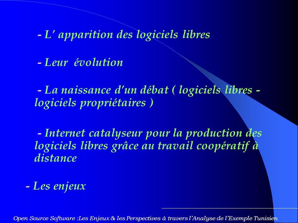 - L' apparition des logiciels libres - Leur évolution