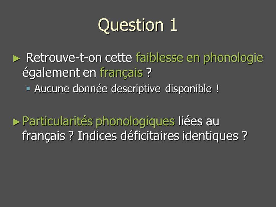 Question 1 Retrouve-t-on cette faiblesse en phonologie également en français Aucune donnée descriptive disponible !