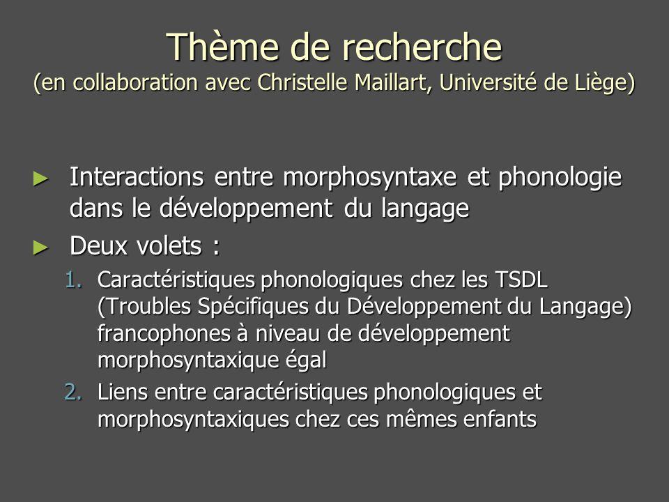 Thème de recherche (en collaboration avec Christelle Maillart, Université de Liège)