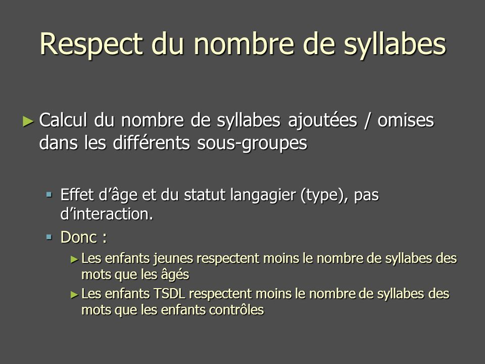 Respect du nombre de syllabes
