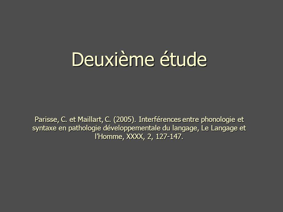 Deuxième étude Parisse, C. et Maillart, C. (2005)