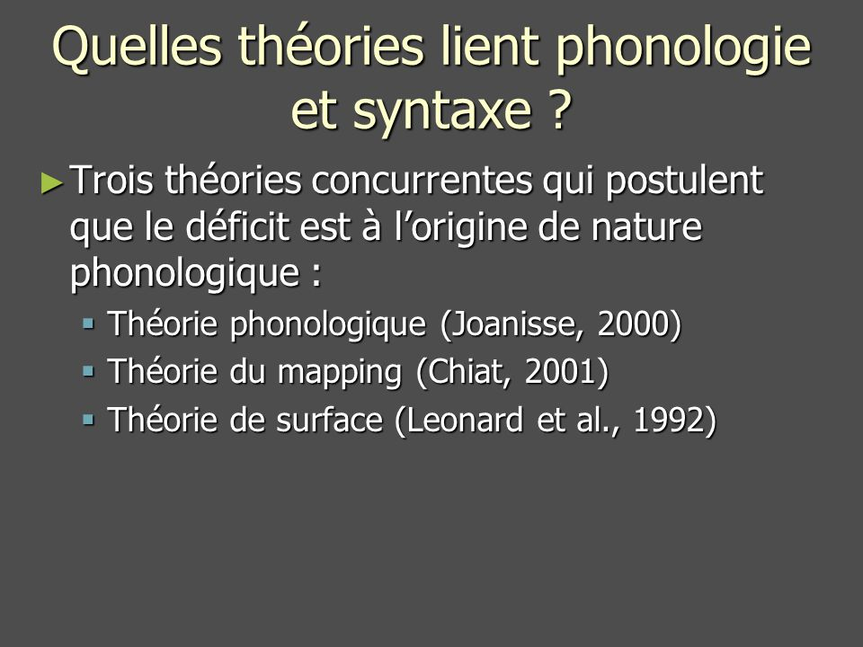 Quelles théories lient phonologie et syntaxe