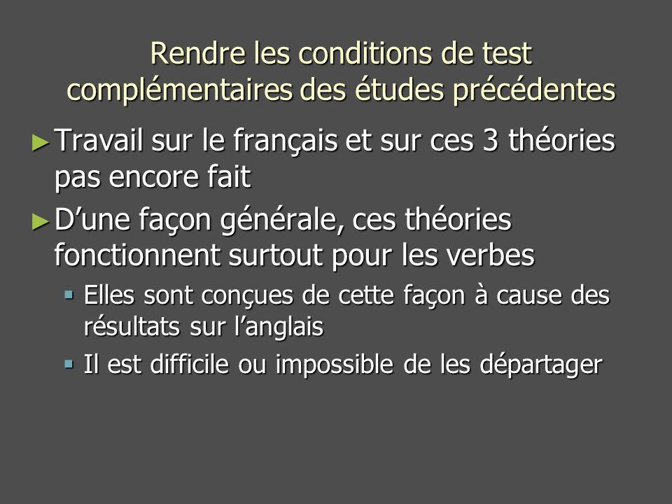 Rendre les conditions de test complémentaires des études précédentes