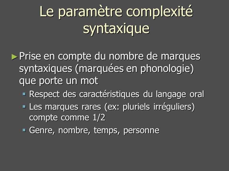 Le paramètre complexité syntaxique