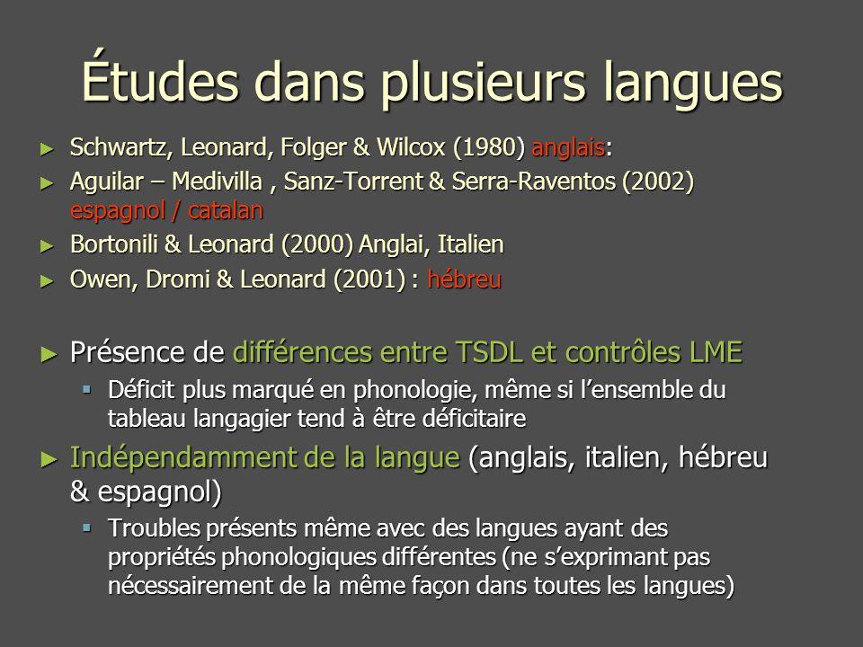 Études dans plusieurs langues