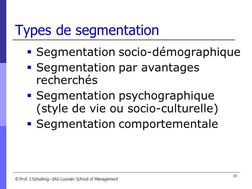 Types de segmentation Segmentation socio-démographique