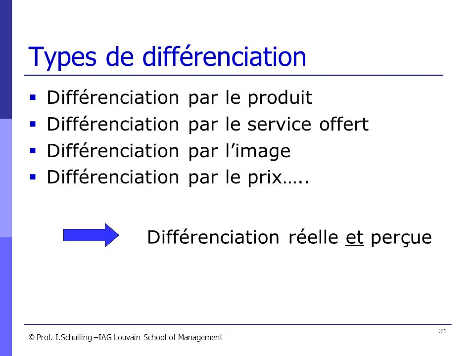 Types de différenciation