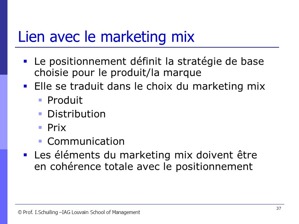 Lien avec le marketing mix