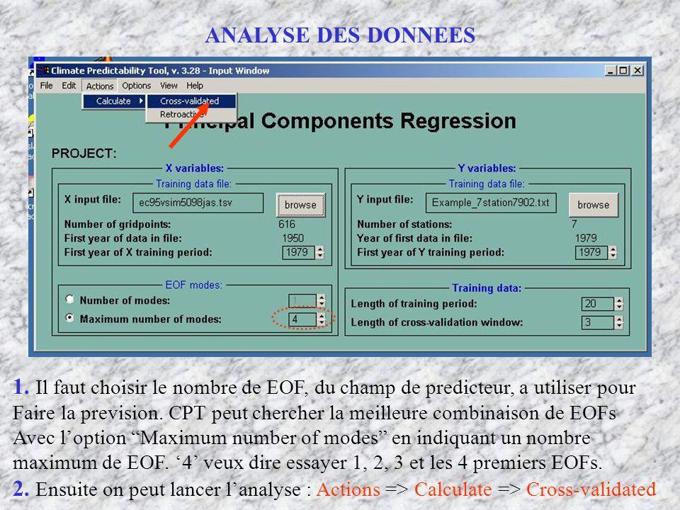 ANALYSE DES DONNEES 1. Il faut choisir le nombre de EOF, du champ de predicteur, a utiliser pour.