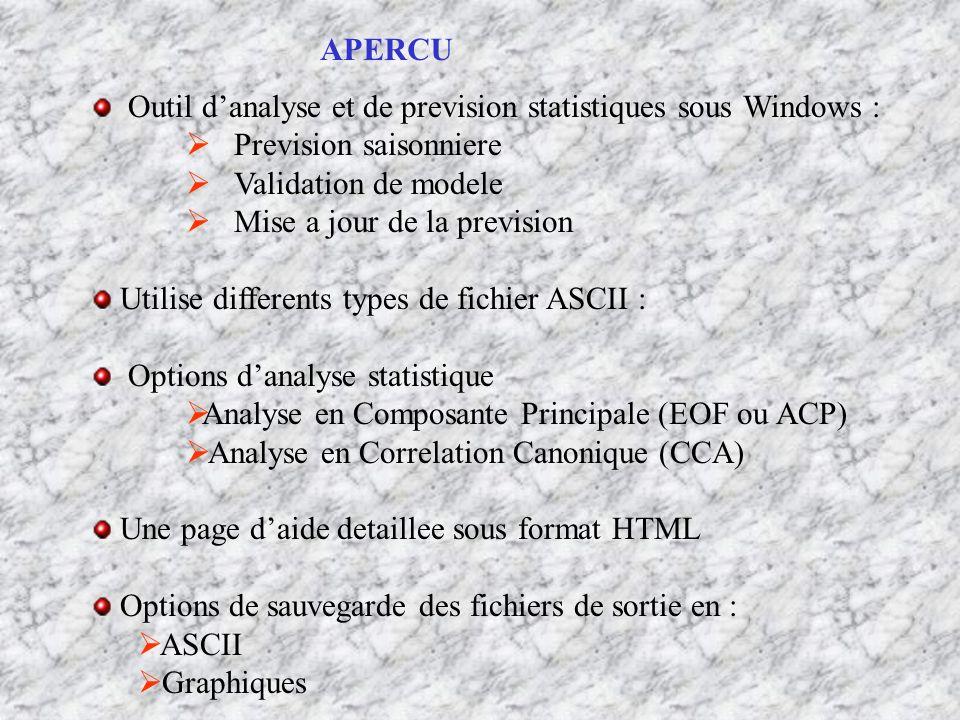 Outil d'analyse et de prevision statistiques sous Windows :