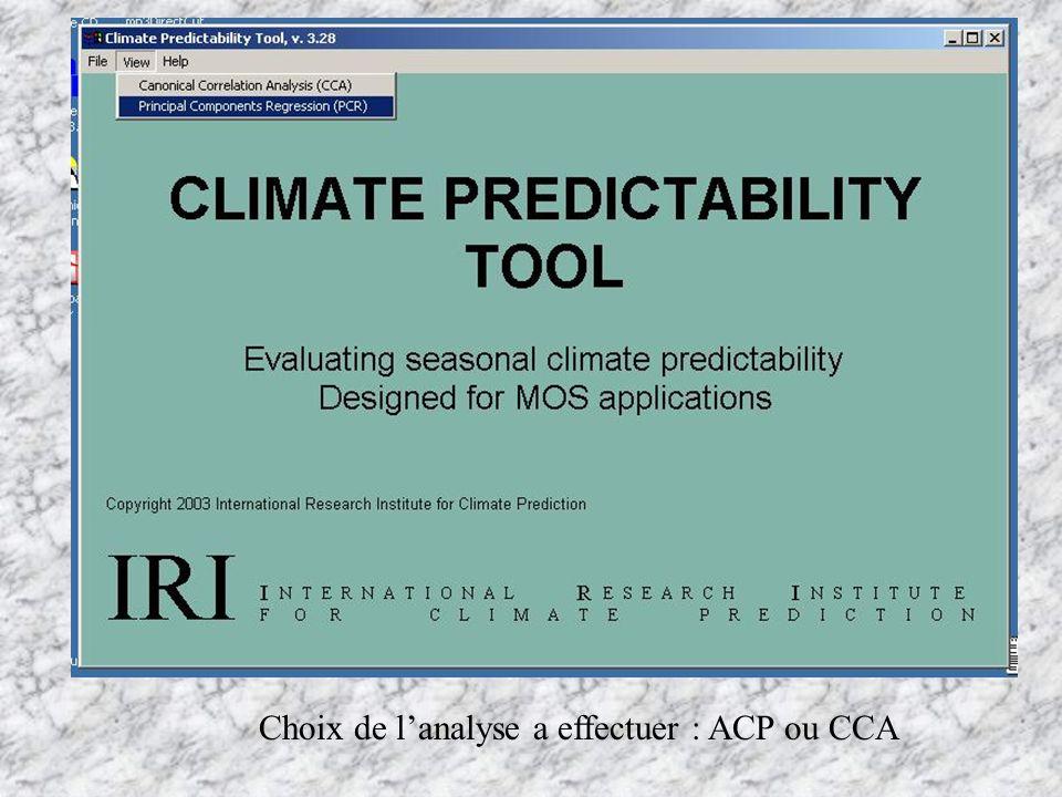 Choix de l'analyse a effectuer : ACP ou CCA