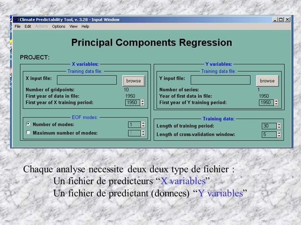 Chaque analyse necessite deux deux type de fichier :