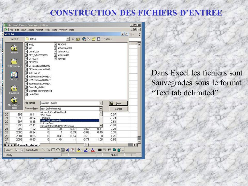CONSTRUCTION DES FICHIERS D'ENTREE