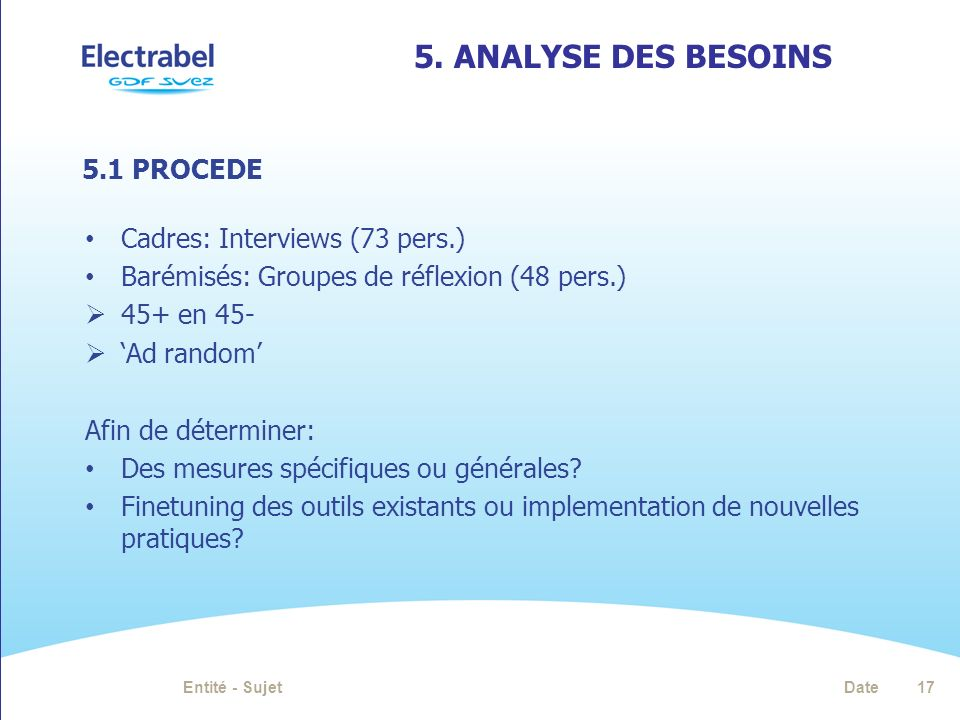 5. Analyse des besoins 5.1 PROCEDE Cadres: Interviews (73 pers.)