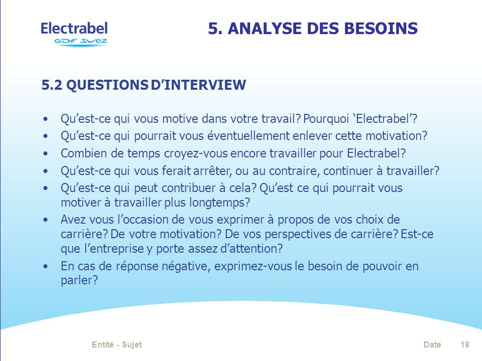 5. Analyse des besoins 5.2 QUESTIONS D'INTERVIEW